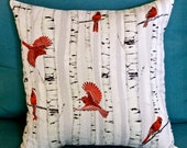 Red Cardinal Pillow, Birch Tree and Cardinal Pillow, Christmas Pillow, Redbird Pillow, Pillow with Redbird, Holiday Pillow, Christmas Decor