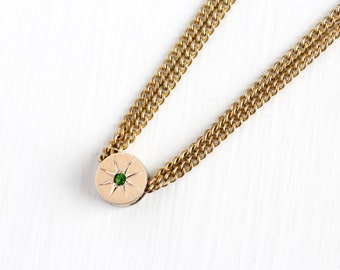 Antique Rosy Yellow Gold Filled Simulated Peridot Round Slide Charm Necklace - Vintage Victorian Fob Pocket Watch Chain Layered Jewelry