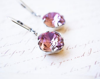 Earrings, Silver Earrings, Crystal Earrings, Swarovski Crystal, Dangle Earrings, Drop Earrings, Handmade Earrings, Antique Pink, Gift