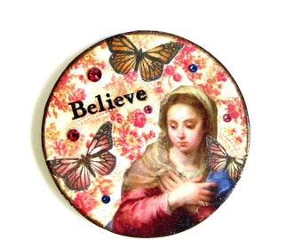 Religious Magnet Fridge Magnet Madonna with Butterflies Catholic Gift Vintage Virgin Mary Decoupaged Wood Mothers Day Gift for Mom