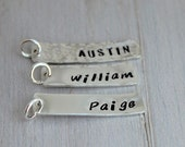stamped name tag | rectangle name tag | hand stamped sterling silver | stamped disc | kid name | custom name tag | mommy gift | push present