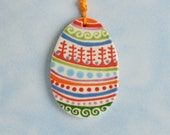 Easter Egg Ornament Hand Painted Oval Clay Pottery Egg, Spring Colors