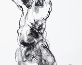"Expressive and Minimal Male Figurative Art  - 11 x 14"",  fine art - Drawing 445 - charcoal on paper - original drawing"