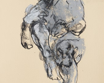 """Expressionist Figure Drawing - Drawing 454 - 9 x 12"""" charcoal and pastel on cream colored paper, original drawing"""