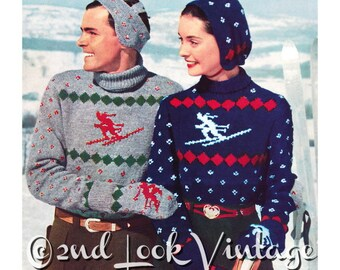 Vintage Knitting Pattern 1950s Ski Sweater Skier Nordic Novelty Headband Hat Cap Mittens Digital Download PDF