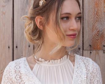 Gold Wedding Headpiece - Gold-tone Bridal Headpiece with Crystals - Gold Tiara - Vintage Style Wedding tiara - 1930s Wedding Dress