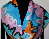 Mint, Pink, Orange, Turquoise Hand Painted Silk Scarf POP ART. Large 14x72, by Silk Scarves Colorado. Birthday Gift, Anniversary Gift