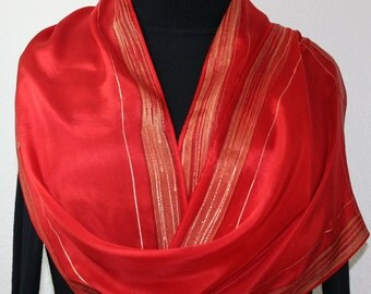 Red Hand Painted Silk Scarf. Red, Gold Handpainted Silk Shawl LOVE STORY, in 4 SIZES, by Silk Scarves Colorado. Mother Gift, Bridesmaid Gift