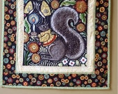 Art Quilt, Country Squirrel Wallhanging, Bohemia by Julie Paschkis, One of a Kind Art Quilt, Hand Beaded Wallhanging, Quiltsy Handmade
