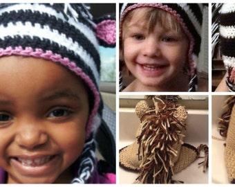 Crochet PDF Pattern Zebra Earflap Hat,  Horse Earflap Hat