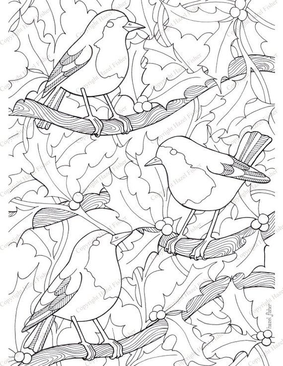 Items similar to Christmas Colouring Page - robin birds ...