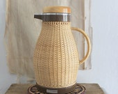 RESERVED / SALE/// Vintage Corning Designs wicker coffee thermos carafe