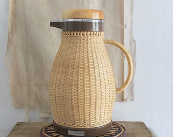 Vintage Corning Designs wicker coffee thermos carafe