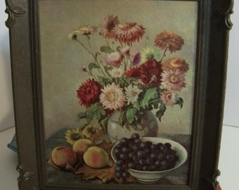 Adorable Mid Century Oil Painting Original Litho Print- Plastic Frame/ Oil Painting Flower and Fruits/ Oil painting Still Life Flowers-SALE