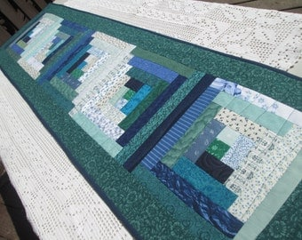 Quilted Summer Log Cabin Long Table Runner