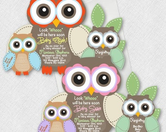 Owl Baby Shower Invitations, Owls Baby Shower Invitations, Girl Owl Invitation, Baby Shower Invitation, Owl Theme Invitation, Owl