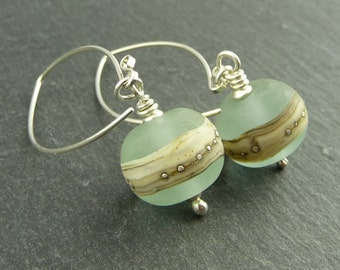 Silver & Lampwork Earrings Aqua