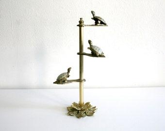 Brass Lotus Turtle Holder