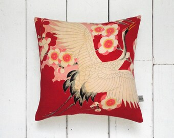 Red & Pink Antique Vintage Japanese Silk Kimono Cushion Pillow 'Cherry Blossom Crane' (1940's)