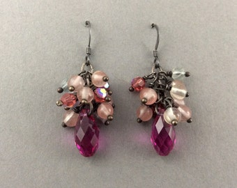 Oxidized Sterling Silver Earrings In Cluster Style With Fucshia Swarovski Crystals And Fluorite Gemstones
