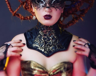 Gold and black neck corset/ brace. Gothic accessory. Made to order