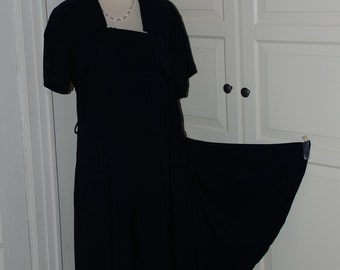 40s Dress, Navy Crepe, Side Drape, Pleating, Vintage Dress, Size L/XL