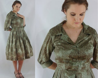 Vintage Sixties Dress - 1960s Shirtwaist Dress - 60s Fit and Flare Dress - Large Party Dress - Green Print Dress - Chinese Luck Symbol