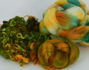 Spinning Felting Fleece Fiber Medley Cormo Top Roving Wensleydale Locks 1.4 Ounces Colorway- Mid West