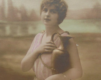 Vintage French Postcard - Woman in Pink with a Jug