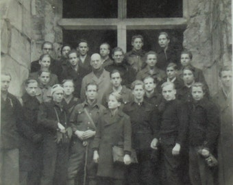 Vintage French Photo - Group of Men Outside a Church