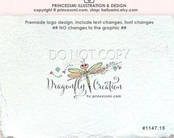 1147-15 Dragonfly logo, Premade Logo Design, custom logo design, photography logo, business logo, boutique logo, kids business, handcraft