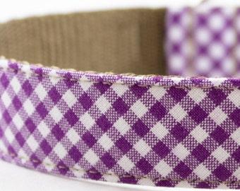 Purple Gingham Dog Collar