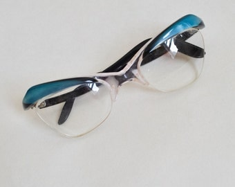 1960s Blue & black spectacles / 60s eyeglasses frames