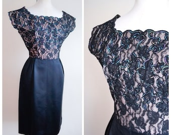 1950s Illusion lace & satin cocktail dress with lamé tinsel bodice / 50s lacey metallic wiggle evening dress - M