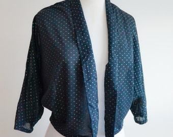 1950s 60s Black multicolour glitter spot dolman sleeve jacket / 50s lurex bolero - S M L