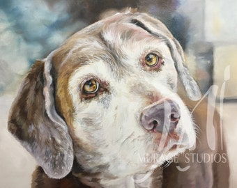 Custom Pet Portrait 16x20 Gallery Wrapped • Original Oil Painting • Portrait Made to Order • Custom Dog Painting
