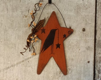 Primitive Country Crow on Star,Primitive Fall Decor,Primitive Crow and Star,Painted Crow,Country Crow Primitive Decor,Pip Berries,ORANGE