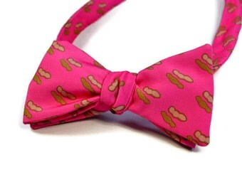 Boiled Peanut Adjustable Freestyle or Pre-tied Men's Bow Tie, Southern Bow Tie, Pink Bow Tie, Preppy Bow Tie