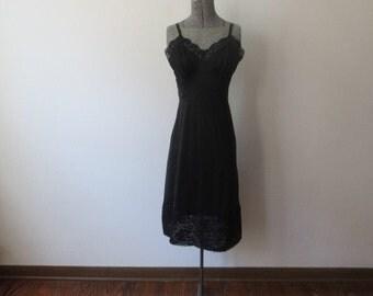 Gorgeous Vintage Vanity Fair Rich Black Full Slip, Sz 34, Lots of Lace!