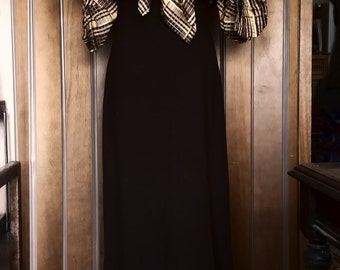 Vintage 30s Art Deco Fabulous Elbow Sleeves Dress and Cape