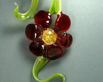 Red Glass Flower Ornament, Hanging Art Glass, Boro Lampwork Wall Art