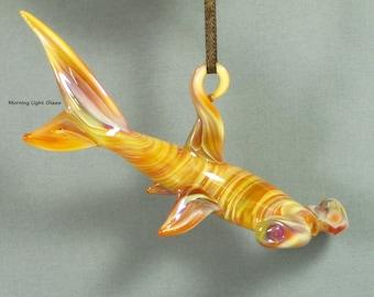Glass Shark Ornament Suncatcher - Lampwork Sealife Sculpture - Hammer Head Shark