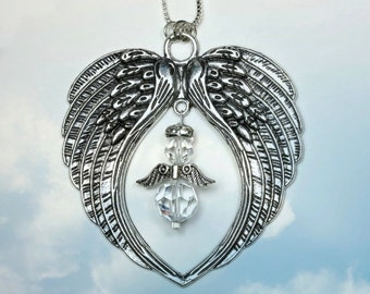 made with Swarovski® crystals, Angel Wings Guardian Angel Suncatcher Rear View Mirror Car Charm Home Window Ornament, Pearl Place N More