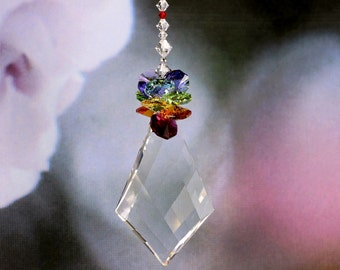 "RAINBOW MAKER Suncatcher RARE 3"" Logo Diamond Trellis Kite, Rainbow Octagon Crown & Chakra Strand m/w Swarovski® Crystal, Pearl Place N More"