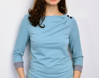 jersey sweatshirt - dove blue - buttons