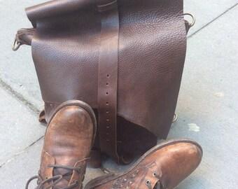 Chocolate Backpack, Brown Soft Leather Bag, Zippered Haversack, Carryall Zipper Backpack, Handmade Leather Bags, Backpacks and Haversacks
