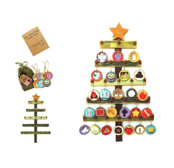 Rustic Wood & Vellum Stickers Jesse Tree Ornaments and Tree