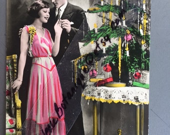 Antique Twenties Christmas Photo Postcard - Man - Woman - Christmas Tree - Colorful Old Photo