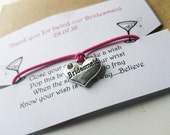 Thank You For Being Our Maid Of Honour/Bridesmaid/Flower Girl Wish Upon A Charm Bracelet