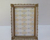 French Provincial Filigree Brass 5 x 7 Picture Frame Gold Brass with Easel Back